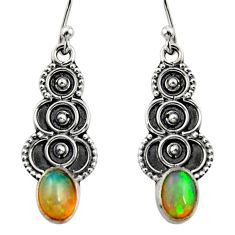 3.01cts natural multi color ethiopian opal 925 silver dangle earrings r14836