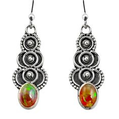 925 silver 3.03cts natural multi color ethiopian opal dangle earrings r14837