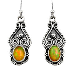 3.18cts natural multi color ethiopian opal 925 silver dangle earrings r14838