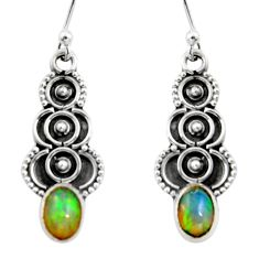 3.03cts natural multi color ethiopian opal 925 silver dangle earrings r14839