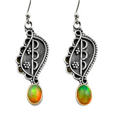 3.31cts natural multi color ethiopian opal 925 silver dangle earrings r14841