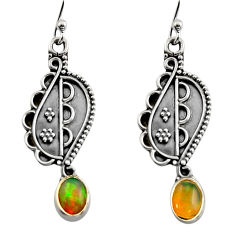 3.29cts natural multi color ethiopian opal 925 silver dangle earrings r14842