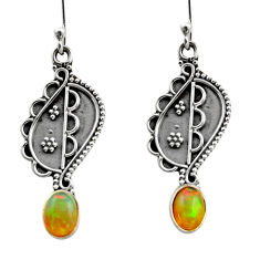 3.51cts natural multi color ethiopian opal 925 silver dangle earrings r14843