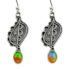 925 silver 3.32cts natural multi color ethiopian opal dangle earrings r14844
