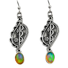 3.29cts natural multi color ethiopian opal 925 silver dangle earrings r14845