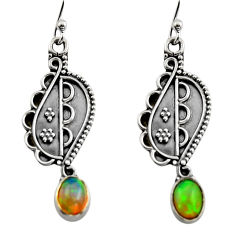3.29cts natural multi color ethiopian opal 925 silver dangle earrings r14847