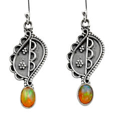 925 silver 3.29cts natural multi color ethiopian opal dangle earrings r14848