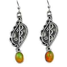 3.43cts natural multi color ethiopian opal 925 silver dangle earrings r14850