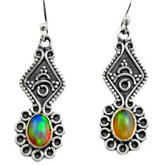 3.64cts natural multi color ethiopian opal 925 silver dangle earrings r14851