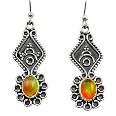 925 silver 3.65cts natural multi color ethiopian opal dangle earrings r14852