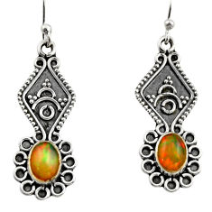 3.65cts natural multi color ethiopian opal 925 silver dangle earrings r14853
