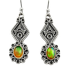 3.65cts natural multi color ethiopian opal 925 silver dangle earrings r14854
