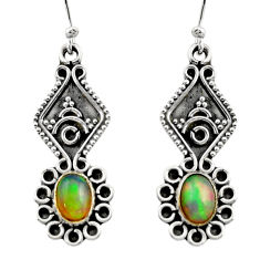 3.66cts natural multi color ethiopian opal 925 silver dangle earrings r14855