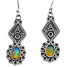 925 silver 3.64cts natural multi color ethiopian opal dangle earrings r14856