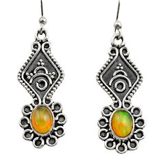 3.65cts natural multi color ethiopian opal 925 silver dangle earrings r14857