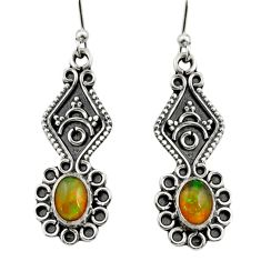 3.87cts natural multi color ethiopian opal 925 silver dangle earrings r14859