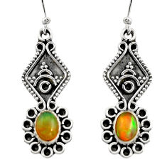 925 silver 3.65cts natural multi color ethiopian opal dangle earrings r14860