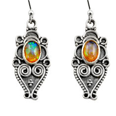 3.51cts natural multi color ethiopian opal 925 silver dangle earrings r14861