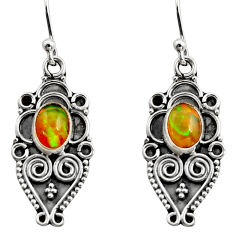 3.51cts natural multi color ethiopian opal 925 silver dangle earrings r14862