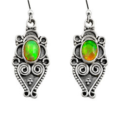 925 silver 3.72cts natural multi color ethiopian opal dangle earrings r14864