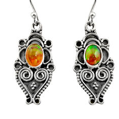 3.73cts natural multi color ethiopian opal 925 silver dangle earrings r14865