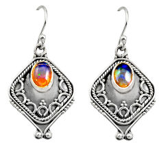 3.19cts natural multi color ethiopian opal 925 silver dangle earrings r14866