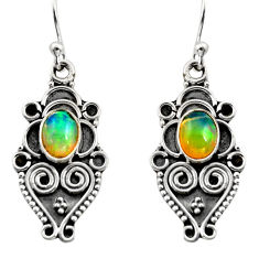 3.32cts natural multi color ethiopian opal 925 silver dangle earrings r14867