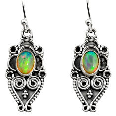 3.30cts natural multi color ethiopian opal 925 silver dangle earrings r14868