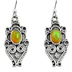 925 silver 3.13cts natural multi color ethiopian opal dangle earrings r14869