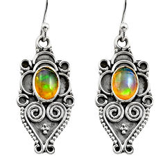3.12cts natural multi color ethiopian opal 925 silver dangle earrings r14871