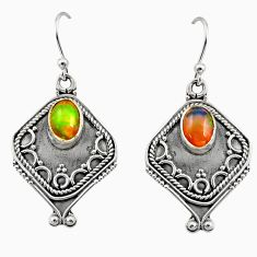 3.02cts natural multi color ethiopian opal 925 silver dangle earrings r14872