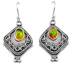 3.19cts natural multi color ethiopian opal 925 silver dangle earrings r14873