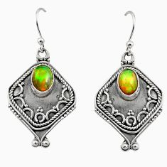 3.19cts natural multi color ethiopian opal 925 silver dangle earrings r14877