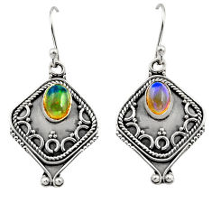 3.19cts natural multi color ethiopian opal 925 silver dangle earrings r14878