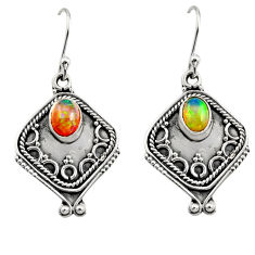 3.19cts natural multi color ethiopian opal 925 silver dangle earrings r14880