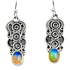 3.29cts natural mult icolor ethiopian opal 925 silver dangle earrings r14881