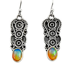 3.09cts natural multi color ethiopian opal 925 sterling silver earrings r14882