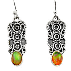 925 sterling silver 3.11cts natural multi color ethiopian opal earrings r14884