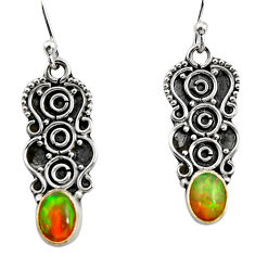 3.30cts natural multi color ethiopian opal 925 sterling silver earrings r14885