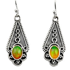 3.29cts natural multi color ethiopian opal 925 sterling silver earrings r14886