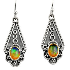 3.51cts natural multi color ethiopian opal 925 sterling silver earrings r14888