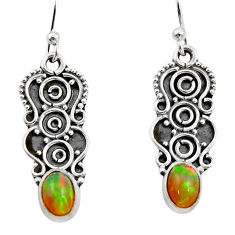 3.29cts natural multi color ethiopian opal 925 sterling silver earrings r14889