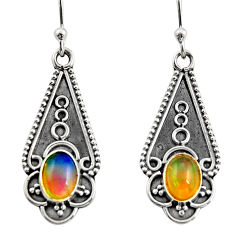 3.51cts natural multi color ethiopian opal 925 sterling silver earrings r14890