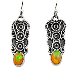 3.09cts natural multi color ethiopian opal 925 sterling silver earrings r14891