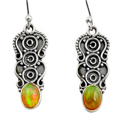 3.29cts natural multi color ethiopian opal 925 sterling silver earrings r14892