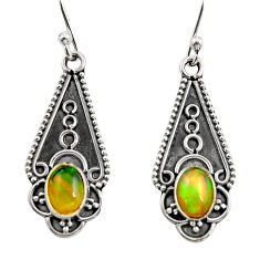 925 sterling silver 3.29cts natural multi color ethiopian opal earrings r14893