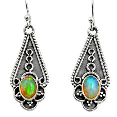 3.65cts natural multi color ethiopian opal 925 sterling silver earrings r14896