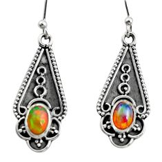 925 sterling silver 3.29cts natural multi color ethiopian opal earrings r14897
