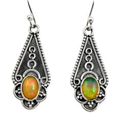 925 sterling silver 3.29cts natural multi color ethiopian opal earrings r14900