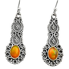 3.11cts natural multi color ethiopian opal 925 silver dangle earrings r14903